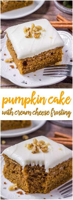 This delicious, moist pumpkin cake with cream cheese frosting is filled with brown sugar, spices & all your favorite fall flavors.
