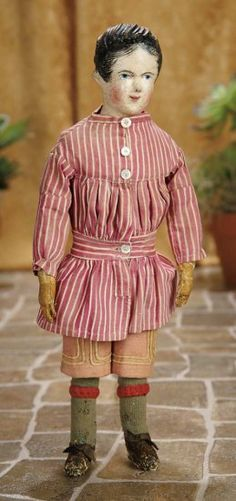 """14""""-German Carved Wooden Character Boy with Original Costume~~~Germany, circa 1840. Value Points: wearing original antique costume comprising homespun trousers, cotton belted tunic, woven stockings with garters, kidskin slippers."""