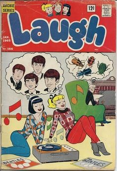 """A """"Laugh"""" comic from 1965; one of the Archie series of comics. This one shows Veronica and Betty dreaming of Beatles, while Mr. Lodge thinks of beetles!"""