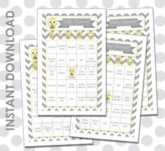 Baby Shower Bingo 60 Cards Owl Chevron Yellow and Grey - Instant Download