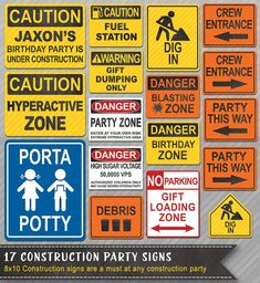 Having a Construction Birthday? This set of Construction Party Printables will be a big hit. Print your own Construction Birthday Decorations. No Shipping Cost and print as many as you need for the party. WE CAN PERSONALIZE THIS PACK FOR YOU - Construction Party Decorations, Construction Birthday Invitations, Construction Signs, Construction Birthday Parties, 2nd Birthday Parties, Birthday Ideas, Birthday Signs, 1st Birthdays, Birthday Banners