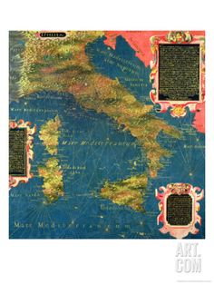"Map of Sixteenth Century Italy, from the ""Sala Delle Carte Geografiche"" Giclee Print by Stefano And Danti Bonsignori at Art.com"