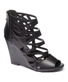 Loving this Black Mabel Wedge Sandal on #zulily! #zulilyfinds