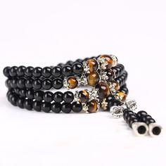 Men Bracelet/Necklace - Buda - Black glass beads and Tiger Eye stones. Yin Yang, Bracelets For Men, Beaded Bracelets, Necklaces, Eye Stone, Tibet, Bracelet Making, Glass Beads, Buddha