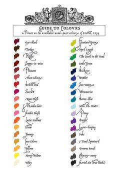 "Another fun Renaissance thing, Century guide to colors (some of the names are a riot, like ""The Devil in the Head"" or ""Dead Spaniard"")- Cream City Illustrators Costume Renaissance, Renaissance Clothing, Renaissance Fair, Historical Clothing, Renaissance Fashion, 16th Century Fashion, 17th Century, Elizabethan Era, Elizabethan Clothing"