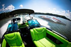 neat front seats pipping in black stands out, arm rests for the front Lake Toys, Boat Upholstery, Wakeboard Boats, Boat Wraps, Ski Boats, Boat Design, Jet Ski, Wakeboarding, Water Sports