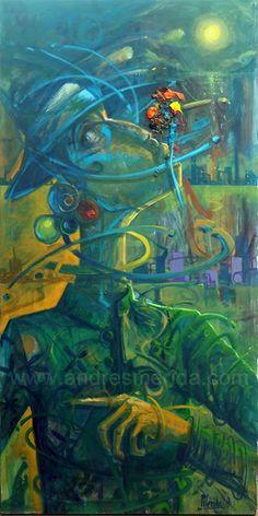 COLOR BRUJO. Óleo/ Tela. 120x60. MLG 2018 #meridagarabatista #color #bruja #oleo