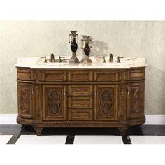 """Check out the InFurniture WB-2871L 70"""" Solid Wood Sink Vanity in Antique Light Walnut - Vanity Top Included priced at $3,624.60 at Homeclick.com."""