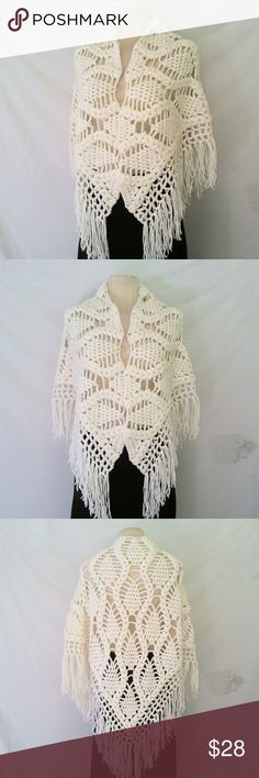 HANDMADE Crochet Shawl Vintage Score!  Winter White Acrylic Knit Crochet Shawl Wrap Coverup.  No tags. OSFM. In excellent used condition. From a smoke free home. Make an offer! BUNDLE & Automatically Get 20% Off on 2+ Items. Bundle one or more items and I'll make you a customized offer up to 40% off - the bigger the bundle the bigger the savings! *2017 SUGGESTED USER* Vintage Sweaters Shrugs & Ponchos