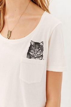 Urban Outfitters Project Social T Peeking Cat Tee