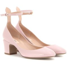 Valentino Tan-Go Patent Leather Pumps ($730) ❤ liked on Polyvore featuring shoes, pumps, pink, tan shoes, pink pumps, pink patent pumps, pink shoes and valentino shoes