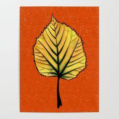 Yellow Linden Leaf On Orange Botanical Art Serving Tray by Boriana Giormova - x x 1 Wall Art Sets, Wall Art Prints, Framed Prints, Canvas Prints, Acrylic Wall Art, Wood Wall Art, Linden Leaf, Leaf Art, Diy Frame