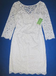 LILLY PULITZER 4 Resort White ROCHELLE Silver Metallic Swirl Lace Dress NWT 4 #LillyPulitzer #Shift #Cocktail