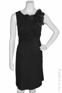 Maternity Clothes: Japanese Weekend Maternity Black Petal Bamboo Dress - Click to enlarge
