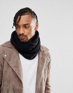 ASOS Textured Infinity scarf In Black - Black