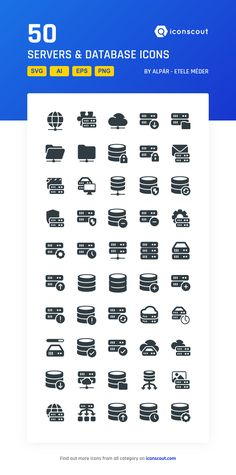 Servers & Database  Icon Pack - 50 Solid Icons