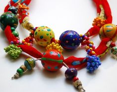 Red necklace with wooden beads by StudioKarma on Etsy