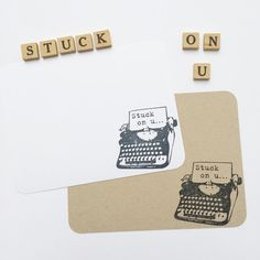 Valentine Typewriter Card  Stuck on U by LeroyLime on Etsy