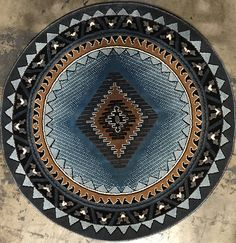 Southwest Native American Round Indian Kingdom Rug Blue & Brown D143 (4 Feet X 4 Feet Round)