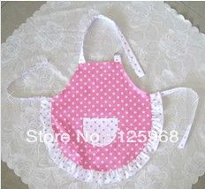 toddler apron with ruffle & polka dots - adjustable neck