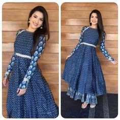 Indian Anarkli suits are perfect for sew DIY projects, and are perfectly transformed into mid-length western dresses. Modest without god can be fun and pretty. Pakistani Dresses, Indian Dresses, Indian Outfits, Western Dresses, Indian Attire, Indian Wear, Kurta Designs, Blouse Designs, Indian Fashion