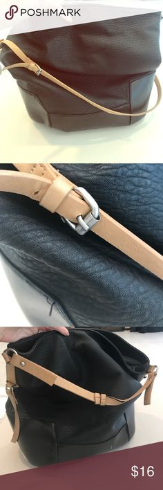 Zara Trafaluc vegan leather bag. Preloved but still great for an everyday bag. Some small stains and flaws as pictured.  Carries a ton of stuff!  Two handles for shoulder or wrist. Zara Bags