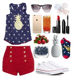 """""""4th of July"""" by lillyd26 ❤ liked on Polyvore featuring Pierre Balmain, Wildfox, NARS Cosmetics, Bobbi Brown Cosmetics, Converse, LSA International and Lazy Susan"""