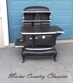 Antique QUEEN ATLANTIC WOOD KITCHEN COOK STOVE Cast Iron with Nickel Plated Trim #PortlandStoveFoundryCo