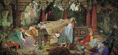 Sleeping Beauty--Спящая царевна (Васнецов Виктор 1900-1926, холст, масло, 214х452 см г.)