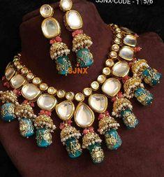 Royal Look American Diamond Necklace Set – FashionVibes indianjewelrysets Indian Jewelry Earrings, Indian Jewelry Sets, Fancy Jewellery, Jewelry Design Earrings, Indian Wedding Jewelry, Stylish Jewelry, Necklace Designs, Fashion Jewelry, Silver Earrings