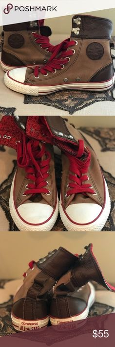 062117120622b1 KIDS Leather Converse Red and brown hi-top All Stars in excellent used  condition. Converse Shoes Sneakers