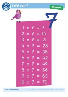 Tafelkaart: tafel van 7. Leer de tafel van 7 met deze handige tafelkaart van Junior Einstein. Print de tafelkaart uit en gebruik het als ondersteuning tijdens het oefenen met de tafel van 7.