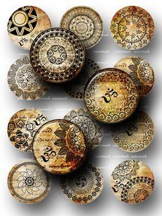 Oriental henné Mandala Om Mehndi Yoga Zen feuille de
