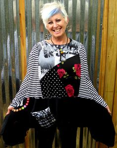 Black White upcycled long sleeve tunic with red by monapaints