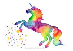 Unicorn Watercolour Print Bright Colourful Wall Art