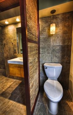 Clever way to seperate the toilet from rest of bathroom - wood and twigs, could also use bamboo.