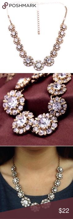 CRYSTAL CIRCLE FLOWER FLORAL STATEMENT NECKLACE Beautiful Crystal Boucle necklace . Brand new all jewelry is buy 2 get 1 free. Jewelry Necklaces