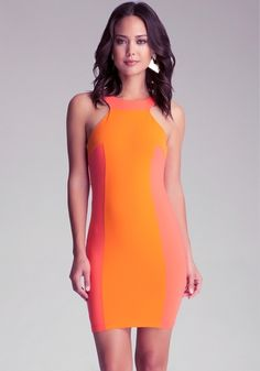 Colorblock Halter Dress from bebe on Catalog Spree