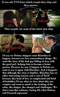 OMFG OMFG THIS! SO TRUE! Delena & Klaroline shipper. The Vampire Diaries ships  <3