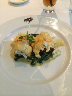 "Brennan's Restaurant lunch in New Orleans. ""Eggs Sardou"" with crabmeat my favorite."