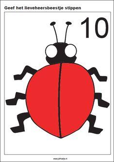 Geef het lieveheersbeestje stippen, 10 kaarten - Rekenen Numbers Preschool, Math Numbers, Preschool Lessons, Playdough Activities, Teaching The Alphabet, Plasticine, Thematic Units, School Hacks, Math Games