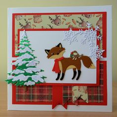 Handmade Christmas Card - Cottage Cutz Fox Die. For more of my cards please visit the CraftyCardStudio on Etsy.com.