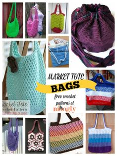 12 Free Market Tote Bag #Crochet Patterns - STOP searching and START making - CrochetStreet.com @mooglyblog