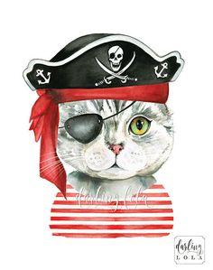 Cat Watercolor Print - Pirate Cat - Cat Art - Illustration - Gray Tabby Cat - Animal Art - Nursery Art - Wall Art - Cat Painting