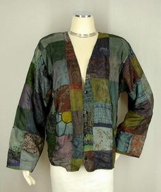 New Sacred Threads Funky Art to Wear Nothing Matches Silk Patchwork Jacket L | eBay