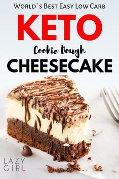 This low carb Keto Cookie Dough Cheesecake is more than just a cake: it's an experience you won't soon forget! This low carb Keto Cookie Dough Cheesecake is like three desserts in one! This is the ULTIMATE cheesecake for the ULTIMATE dessert lover! Keto Cookie Dough, Cookie Dough Cheesecake, Keto Cookies, Cookies Et Biscuits, Cookie Dough Cake, Ultimate Cheesecake, Low Carb Cheesecake, Chocolate Cheesecake, Coconut Cheesecake
