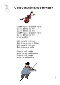 C'est Gugusse avec son violon French Education, Kids Education, French Language Lessons, Learn A New Language, My Job, Nursery Rhymes, Song Lyrics, France, Songs