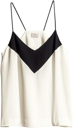Shop for Crêpe Top - White/black - Ladies by H&M at ShopStyle. Now for Sold Out.