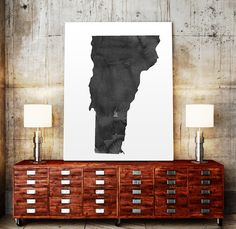Vermont Map State Watercolor Painting Poster Print by TypoWorld