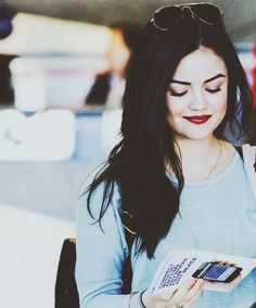 lucy hale, I'm ready for fall so I can wear dark lipstick!
